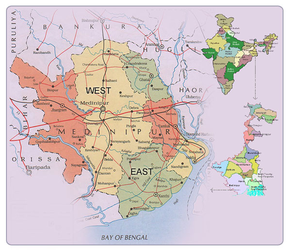 East and West Midnapore (Medinipur) District Map.