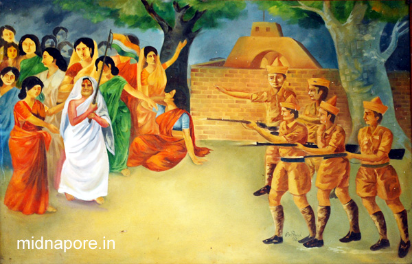 "Painting of the incident of 29th September 1942, preserved at ""Smriti Soudha"" (Nimtouri, Tamluk)"